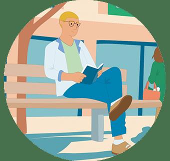 Illustration homme qui lit sur un banc