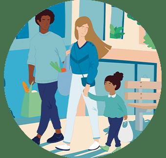 Illustration famille qui se promène