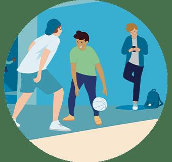 Illustration jeunes qui jouent avec un ballon
